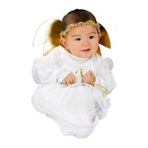 Little Angel Bunting White Costume W/ Wings 0-6M